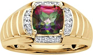 Men's 10K Yellow Gold Square Cut Genuine Mystic Fire Topaz and Diamond Accent Ring