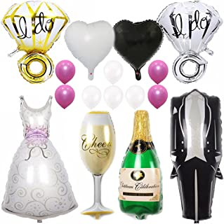 Ezing 40inch Groom Bride Wedding Dress Foil Balloon, 28inch Diamond Ring and 18inch Heart Balloon for Wedding Party Bridal Room Decoration (F)