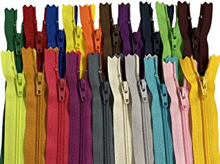 100 Pieces Ykk #3 Nylon Coil Zippers, Colorful Sewing Zippers Supplies for Tailor Sewing Crafts, 20 Assorted Colors or Bla...