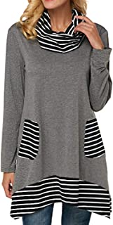 StarVnc Women Cowl Neck Blouse Stripe Patchwork Long Sleeve Tunic Pullover Shirt Tops with Pockets