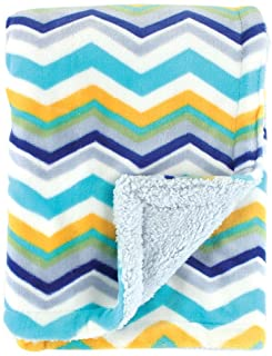 (one size, blue/orange) - Hudson Baby Double Layer Blanket