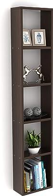 BLUEWUD Engineered Wood Wall Mount Book Shelf Display Rack ,Matte Finish,Set Of 8,Wenge