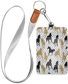 HMZXZ Porte-badge d'identification vertical en cuir synthétique avec cordon détachable - Motif cheval - Pour femme, homme,...
