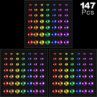 147 Pieces Eye Body Face Gems Rhinestone Stickers Body Face Gems Self Adhesive Rainbow Face Gems for Women Festival Accessory DIY Nail Art Decorations, 3 Sheets