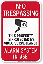 """SmartSign 3M High Intensity Grade Reflective Sign, Legend """"Video Surveillance Silent Alarm Notifies Police"""" with Graphic, 18"""" high x 12"""" wide, Black/Red on White"""