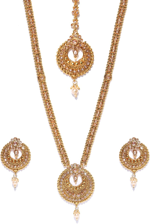 Joyeria Zircon Fashion Indian Casual Wear Gold Plated Light Polki Necklace Sets