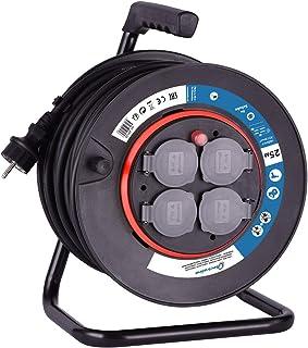 Electraline 49125 Kabeltrommel H05VV-F 3G1,5 25 m Kabel/Kabelrolle mit 4 Schuko-Steckdosen/Kabelbox mit Verlängerungskabel/Leitungsroller mit Kurbel, Schwarz, Schwartz