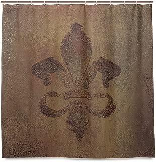 ALAZA Fleur De Lis Grunge Pattern Shower Curtain Polyester Fabric Curtain with 12 Hooks Custom Waterproof Bathroom Decor,72 x 72 inch