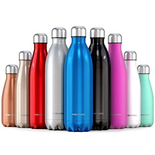 9630f1d850 Proworks Stainless Steel Water Bottle, BPA Free Vacuum Insulated Metal  Water Bottle for 12 Hours