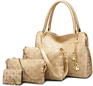 OULII 4pcs Women's Leather Handbags Top Handle Shoulder Bag + Tote Bag + Crossbody Bag + Wallet (Gold) - Christmas Gift