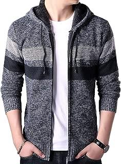 chouyatou Men's Warm Sherpa Lined Knit Striped Hoodie Thicken Cardigan Sweater Jacket