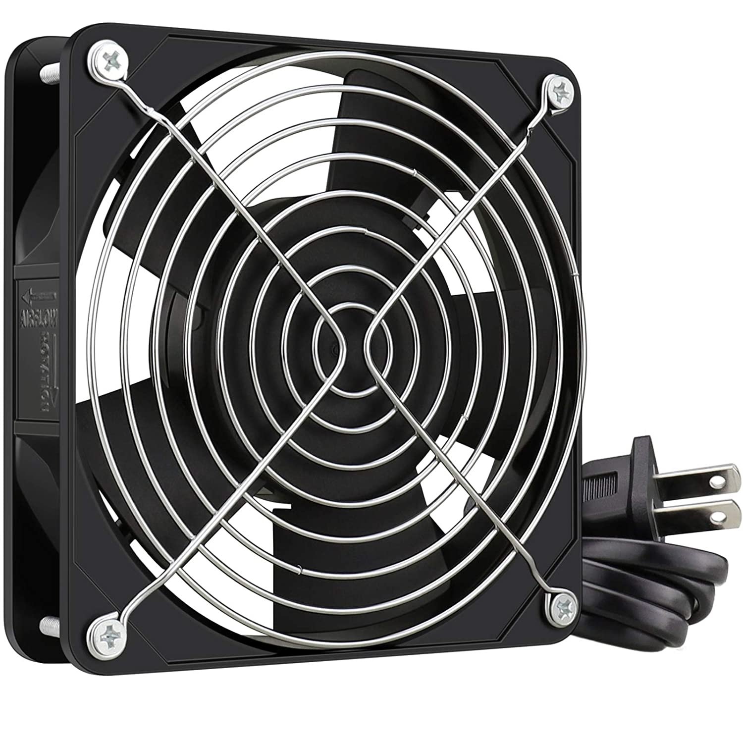 GDSTIME 120mm x 25mm 110V 115V 120V AC Powered Fan Dual Ball Bearing for DIY Cooling Ventilation Exhaust Projects