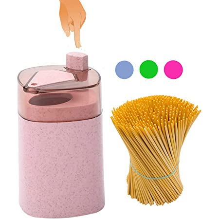 Tcplyn Automatic Pop-up Toothpicks Holder Organizer Portable Toothpicks dispenser Dinning Room Tool Pink Durable and Useful