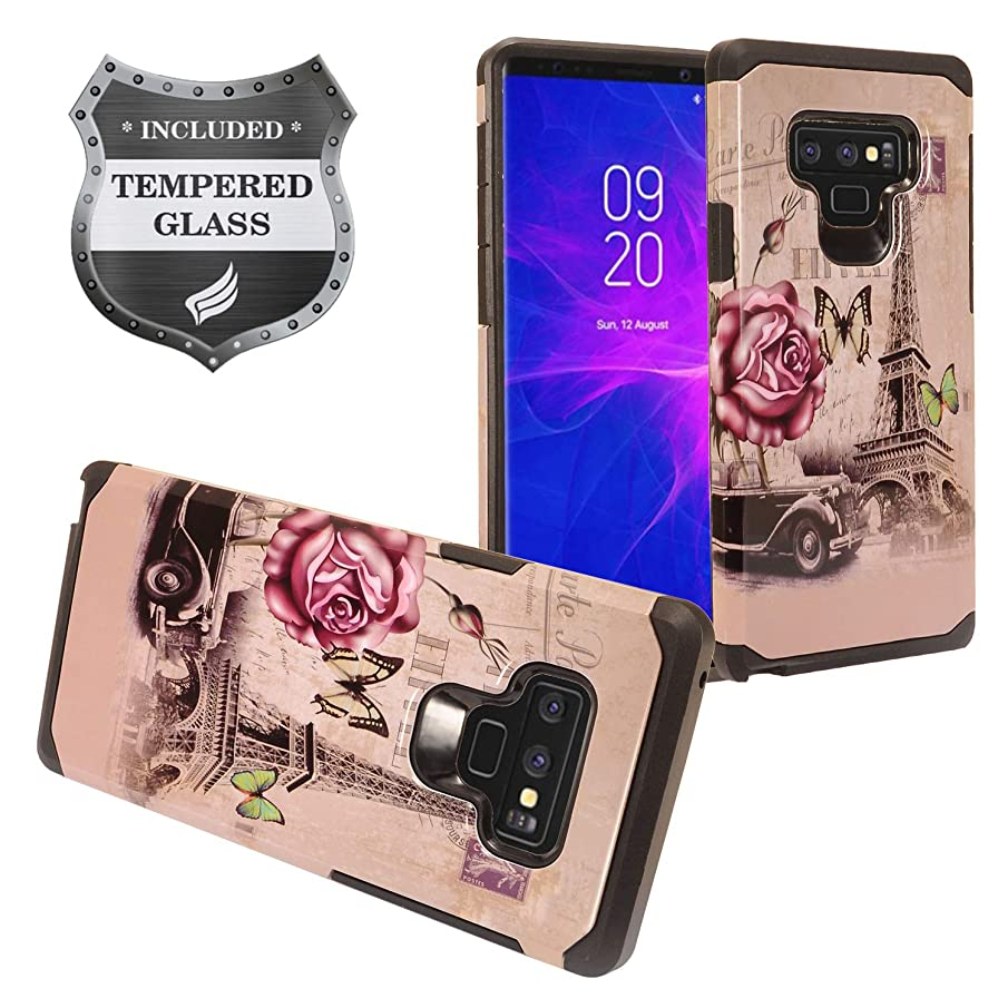 Eaglecell - Compatible with Samsung Galaxy Note 9 SM-N960 Note9 - Hybrid Image Hard Phone Case + Tempered Glass Screen Protector - AD1 Eiffel Tower