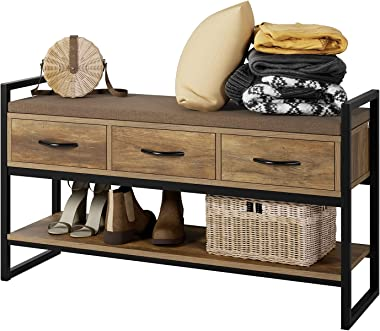 Shoe Bench Rack with Removable Cushion, 2 Tier Shoe Bench with 3 Fabric Drawer, Ideal for Entryway, for Entryway, Bedroom, Li