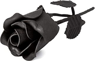 OptiProducts The Eternal Rose Beautiful Hand Forged Wrought Iron Metal Flower Decor | A Single Powder Coated Black Rose