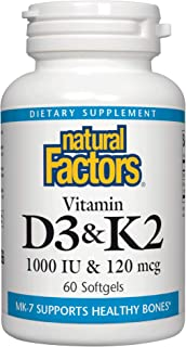 Natural Factors, Vitamin D3 & K2 1000 IU and 120 mcg, Supports Bone and Vascular Health, 60 softgels (60 servings)