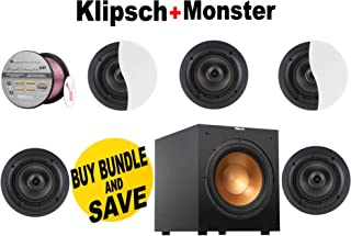 Klipsch Architectural CDT-2650-C II 50 W RMS Speaker - 2-way - White (Qty 5) + Klipsch - R10SW + Monster Cable - PLATXPMS50 Bundle