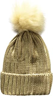 LOTUYACY Winter Pom Pom Beanie Hat with Warm Fleece Lined, Thick Slouchy Snow Knit Ski Cap