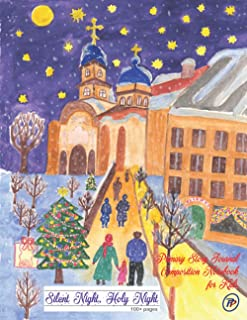 Silent Night, Holy Night | Primary Story Journal Composition Notebook for Kids: Dotted Midline and Picture Space | 100 Sto...
