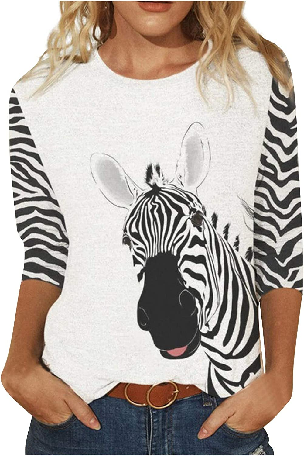 3/4 Sleeve Shirts for Women 3D Tiger Zebra Cat Riding Arabbit Print Loose Fit Funny Graphic Tee Cute Tshirt Tops