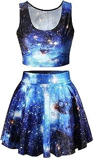 Galaxy Print Crop Tank Top/Pleated Skater Skirts Set Dress for Women