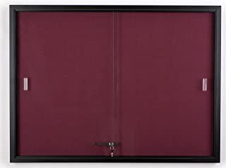 Displays2go 48 x 36 Inches Fabric Tack Board with Locking Sliding Glass Door, 4 x 3 Feet Wall-Mounted Enclosed Bulletin Board - Black Aluminum Frame with Maroon Fabric (FBSD43BKMR)