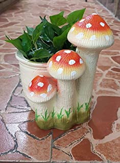 Wonderland Planter with 3 Red Mushroom Planter, Pot, Planters, for Home Decor, Garden Decor, Balcony Decoration, Outdoor, Kids Room, Gifting (Flowers NOT Included)