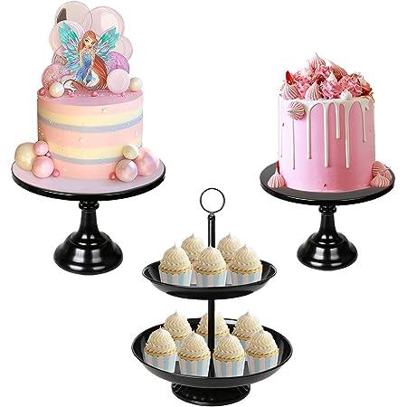 LIFESTIVAL 3 Pack Black Cake Stands Set Metal Cupcake Holder Round Dessert Display Plate Serving Platter