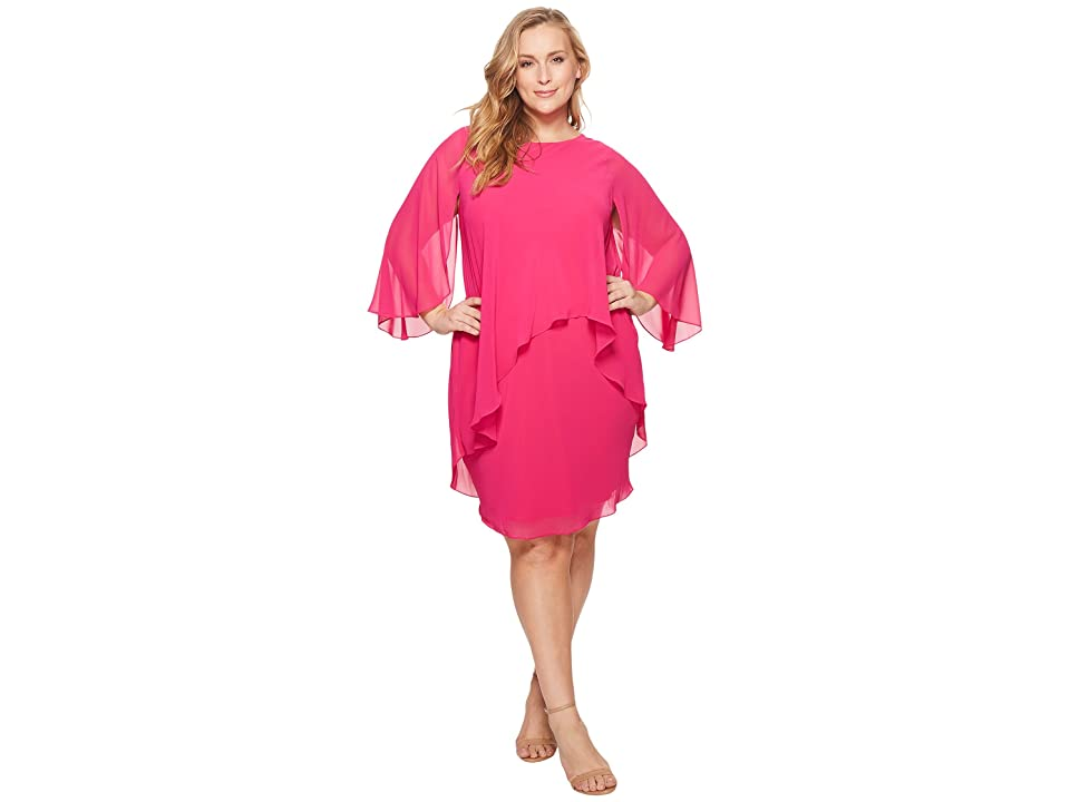 b8c6824e12f LAUREN Ralph Lauren Plus Size Apollonia Georgette Dress (Tropic Pink)  Women s Dress