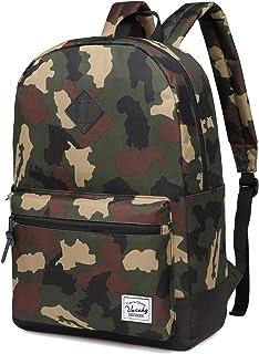 School Backpack,Vaschy Unisex Classic Lightweight Water-Resistant Backpack for Men Women College Schoolbag Travel Bookbag Black, Camo fits 15in Laptop (Green) - VABP02CO