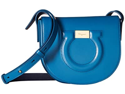 Salvatore Ferragamo Gancio City Crossbody (Azure/Navy) Handbags