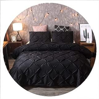 Luxury Black Duvet Cover Pinch Pleat Brief Bedding Set Queen King Size 3pcs Bed Linen Set Comforter Cover Set with Pillowcase,Black,UK Double 200x200cm