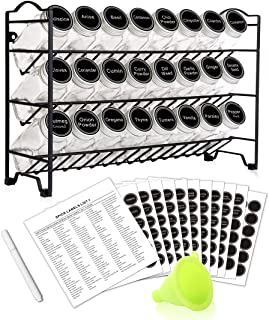 SWOMMOLY Spice Rack with 24 Empty Square Spice Jars, 396 Spice Labels with Chalk Marker and Funnel Complete Set, for Countertop, Cabinet or Wall Mount