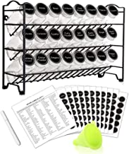 Spice Rack with 24 Empty Square Spice Jars, 396 Spice Labels with Chalk Marker and Funnel Complete Set, for Countertop, Cabinet or Wall Mount by SWOMMOLY
