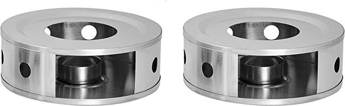 NewlineNY Stainless Steel Coffee Tea Warmers, Dual 6 Inches Circular Herb Tea Light Candle Warmer Set (Candle not Included)