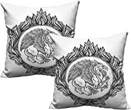 Acelik Vintage Pillowcase Mythological Winged Magic Beast Griffin in Ring of Fire Victorian Heraldry Emblem Soft, Breathable and Hypoallergenic 20
