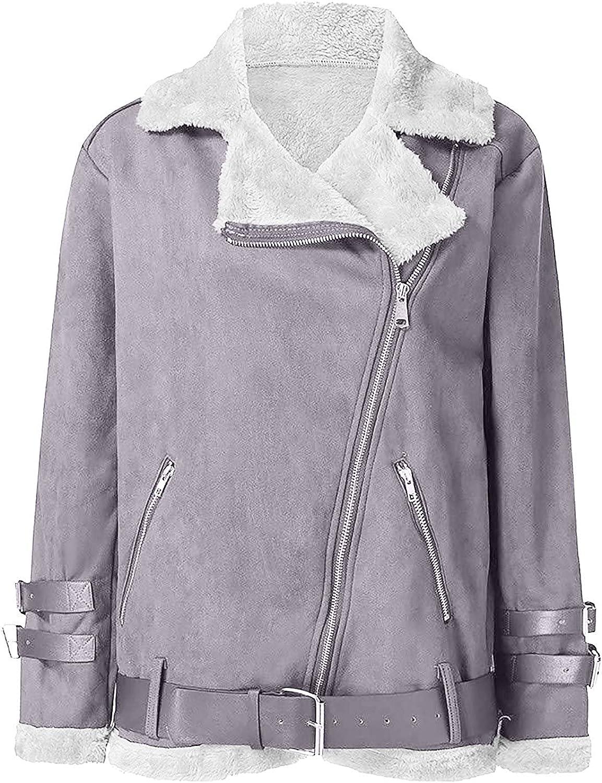 UOFOCO Sherpa Jacket Women Trench Coats Faux Fleece Outerwear Long Sleeve Warm Biker Motor Jacket with Pockets