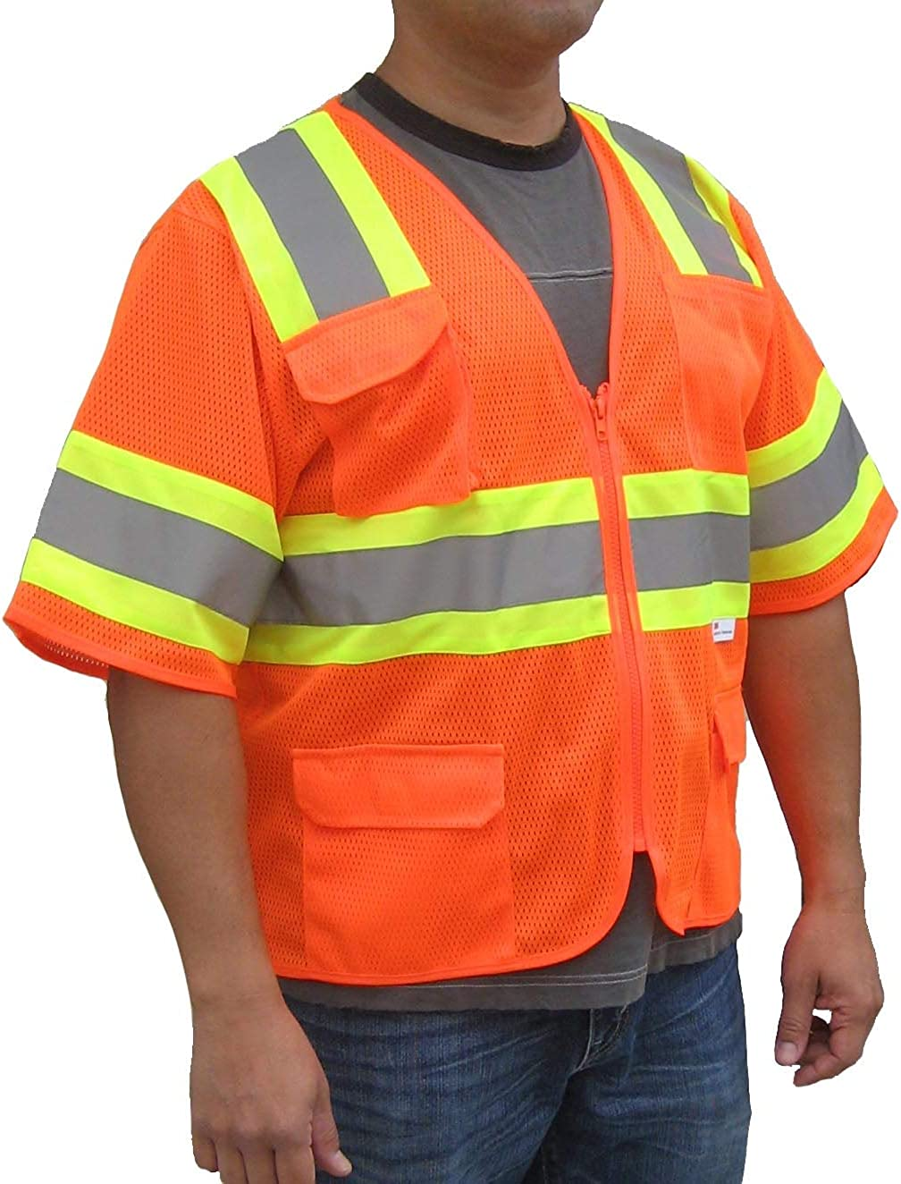 3C Products SV5400, ANSI/ISEA Class 3, High Vis Mesh Safety Vest, 3M Reflective w/Yellow Binding, 7 Pockets, Neon Orange