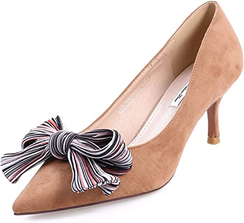 GTVERNH Mode Mode Chaussures femme 7Cm des Hauts Talons Bien Talon Summer Sexy Petite Bouche Noeud Papillon Simple Joker Petites Chaussures.Trente - Neuf Abricot Couleur  prix le moins cher