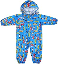 Kids and Toddler One Piece Waterproof Coverall Rain Suit with Hood
