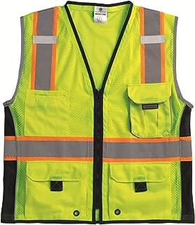 ML Kishigo 1513 Ultra-Cool Polyester Black Series Heavy Duty Vest, Medium, Lime