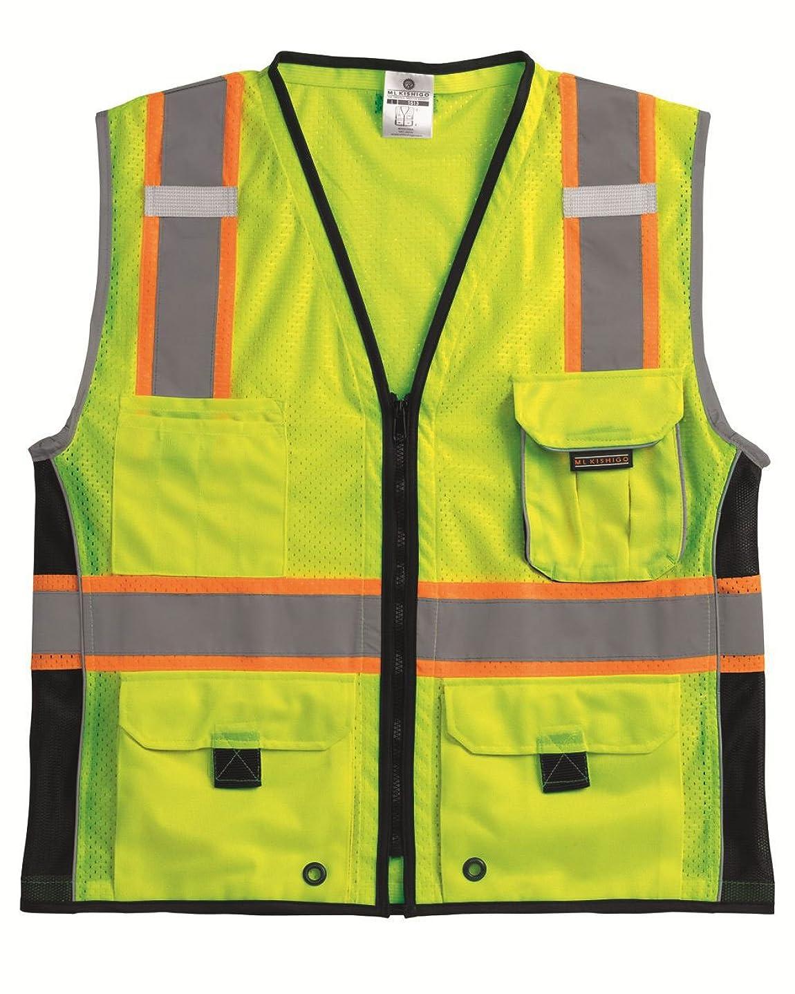 故障実施する暗記するML Kishigo 1513 Ultra-Cool Polyester Black Series Heavy Duty Vest, 2X-Large, Lime by ML Kishigo