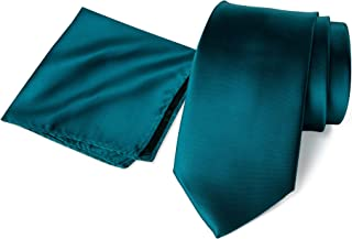 Men's Solid Color Satin Microfiber Tie and Hankerchief Set