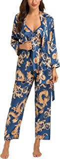 HOUSEPLANT Women's Floral Silk Satin Pajamas Set Sleepwear 3Pcs Nightwear Long Sleeve Pyjamas with Belt