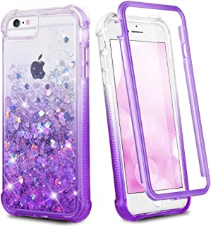 Ruky iPhone 6 6s 7 8 Case, Glitter Clear Full Body Rugged Liquid Cover with Built-in Screen Protector Shockproof Heavy Duty Girls Women Case for iPhone 6 6s 7 8 4.7 inches (Gradient Purple)