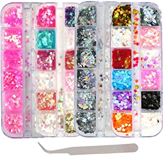 4 Boxes Holographic Nail Sequins Mixed Shapes Iridescent Glitter Flakes Hearts Star Moon DIY Design Manicure Nail Art Deco...