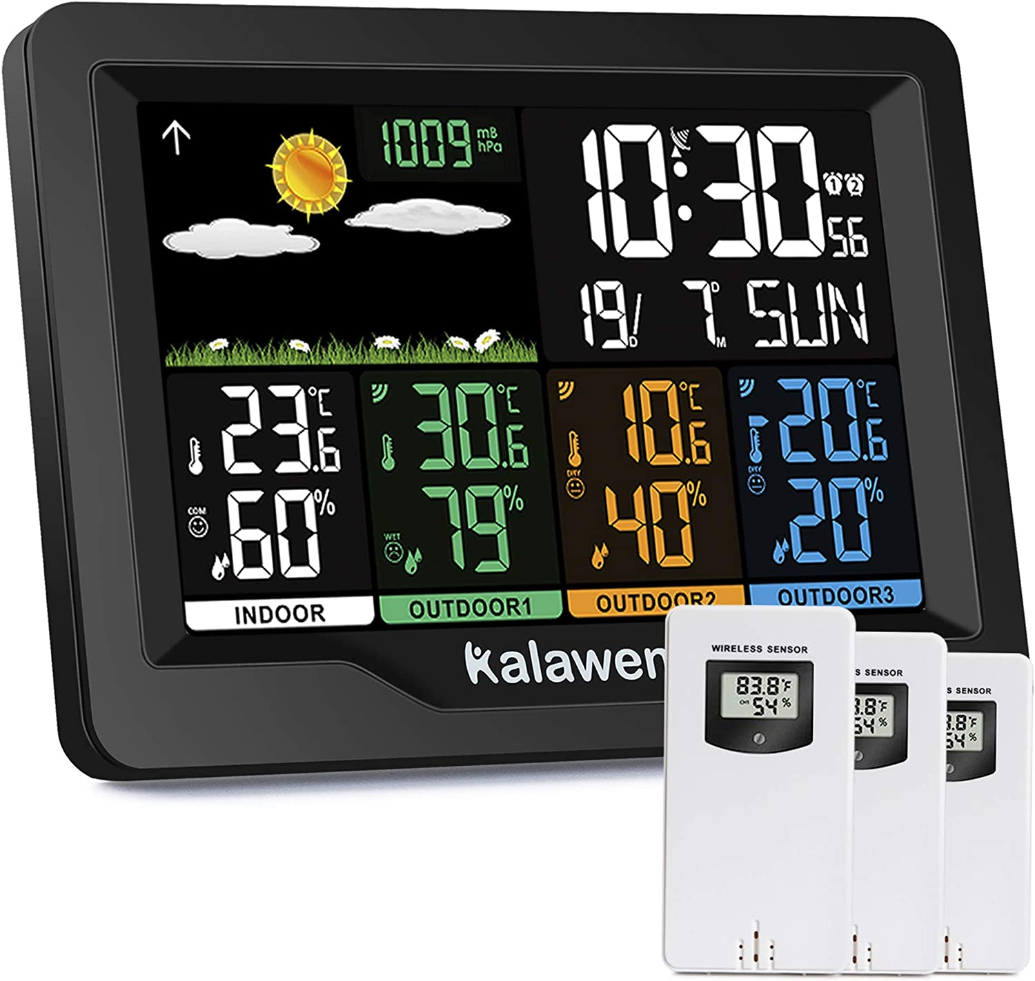 Kalawen Weather Station Wireless Indoor Thermometer Mult Same day shipping cheap Outdoor