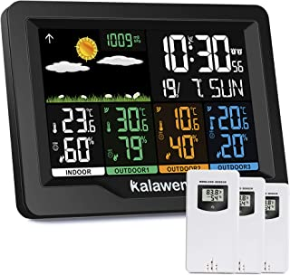 Kalawen Weather Stations Wireless Indoor Outdoor Weather Forecast Station with Color LCD Display, DCF Wireless Digital Alarm Clock, 3 Remote Sensor, Humidity Temperature Monitor Barometer
