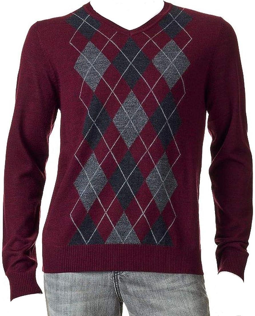 LIZ CLAIBORNE Apt 9 Mens Argyle Merino Wool Blend Sweater V-Neck Dark Brick Red